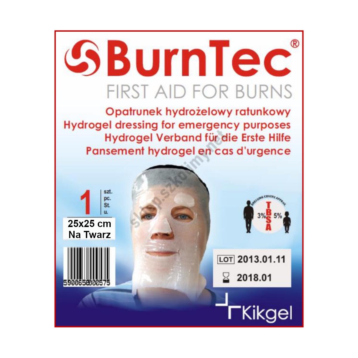 Opatrunek hydrożelowy na twarz BurnTec 25×25 cm