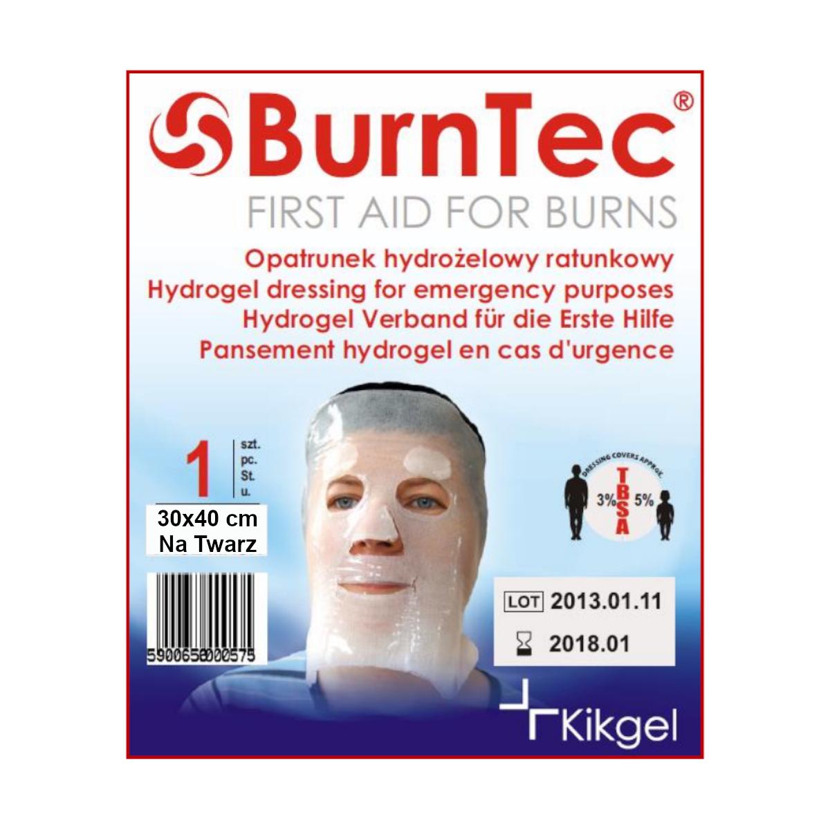 Opatrunek hydrożelowy na twarz BurnTec 30×40 cm