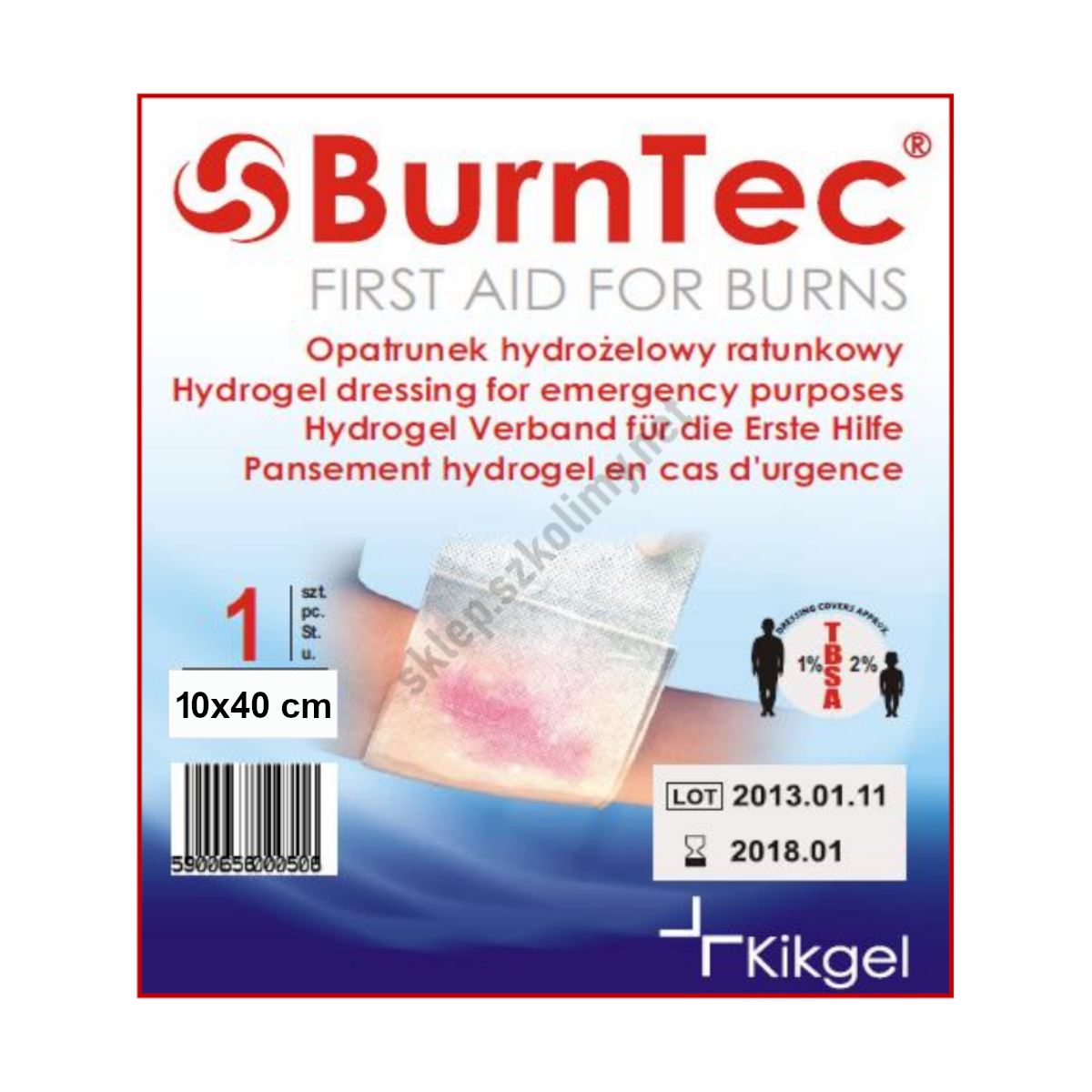Opatrunek hydrożelowy BurnTec 10×40 cm