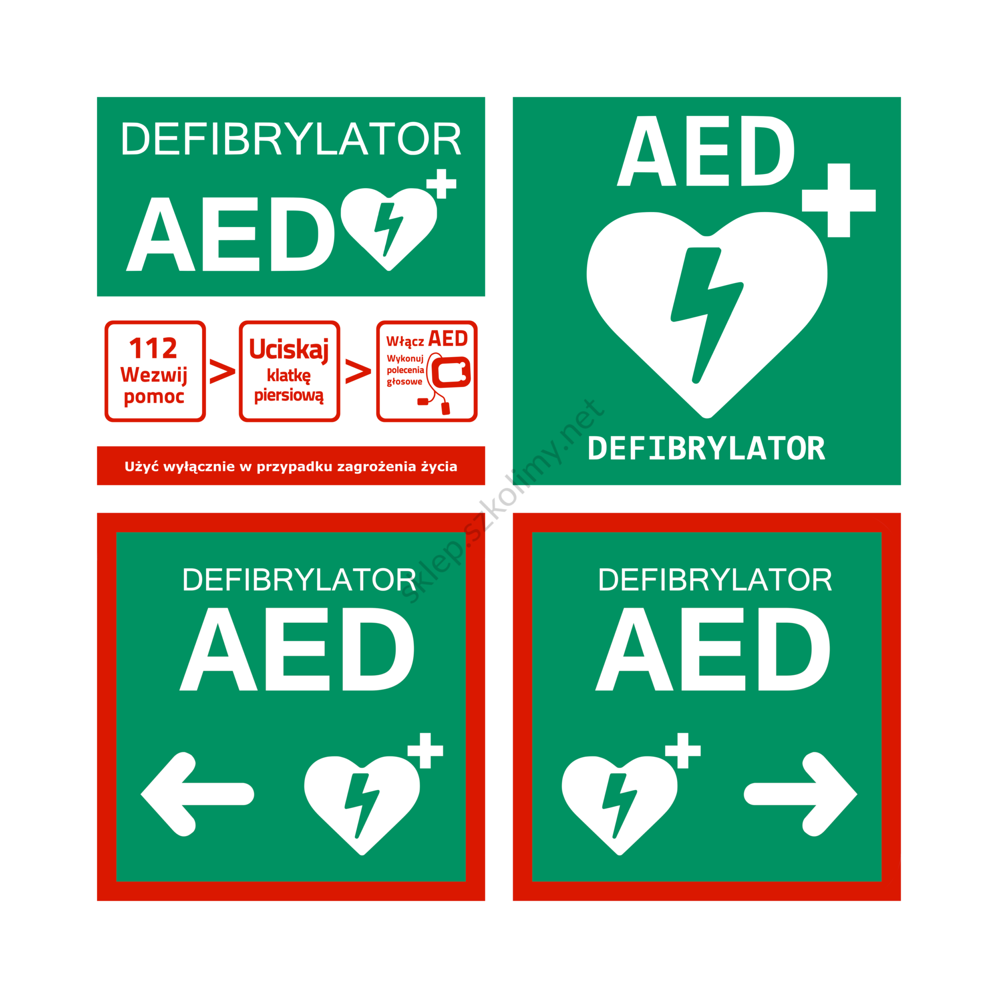 Zestaw tablic informacyjnych AED – 4 sztuki